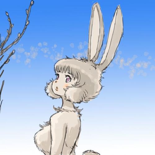 春を想うみみながウサギ