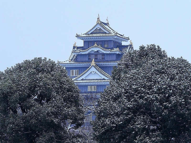 岡山城と雪1