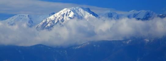 寸光に輝く西駒ヶ岳