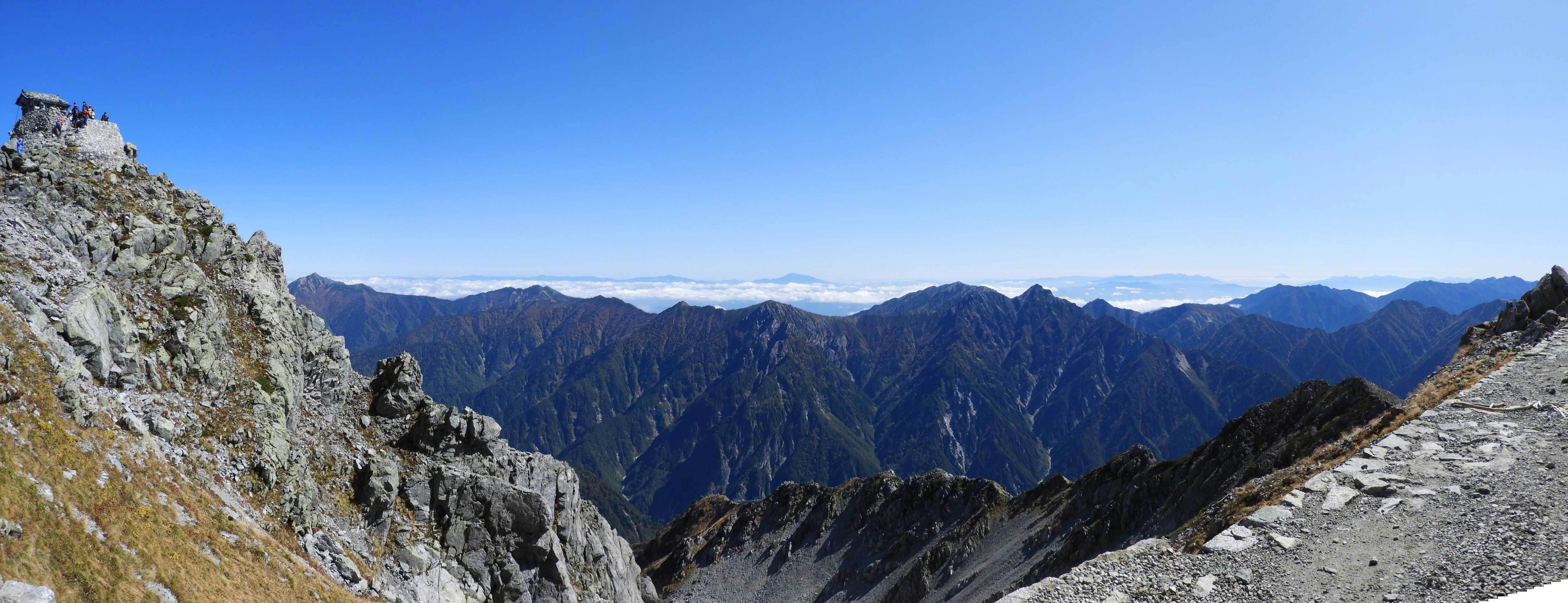 雄山山頂より長野間側眺望パノラマ