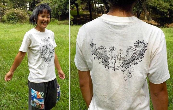 ばからふるTシャツ 着てみる ナチュラル Mサイズ