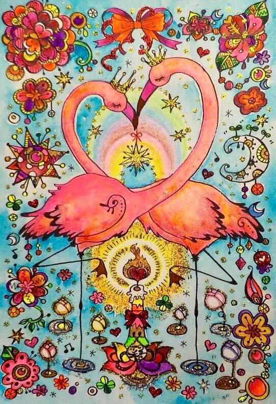 オーダーアート はがきサイズ フラミンゴ ハート せきぐち彩