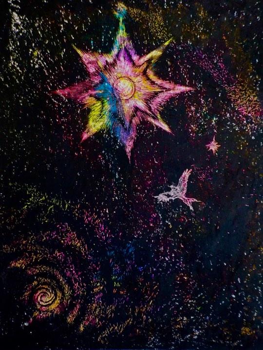 よたか イカロス 闇 星 光 宇宙 鳥 クレヨン F6