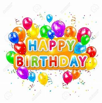 s-30024916-白い背景、イラスト風船、紙吹雪、チンサル言葉お誕生日おめでとう