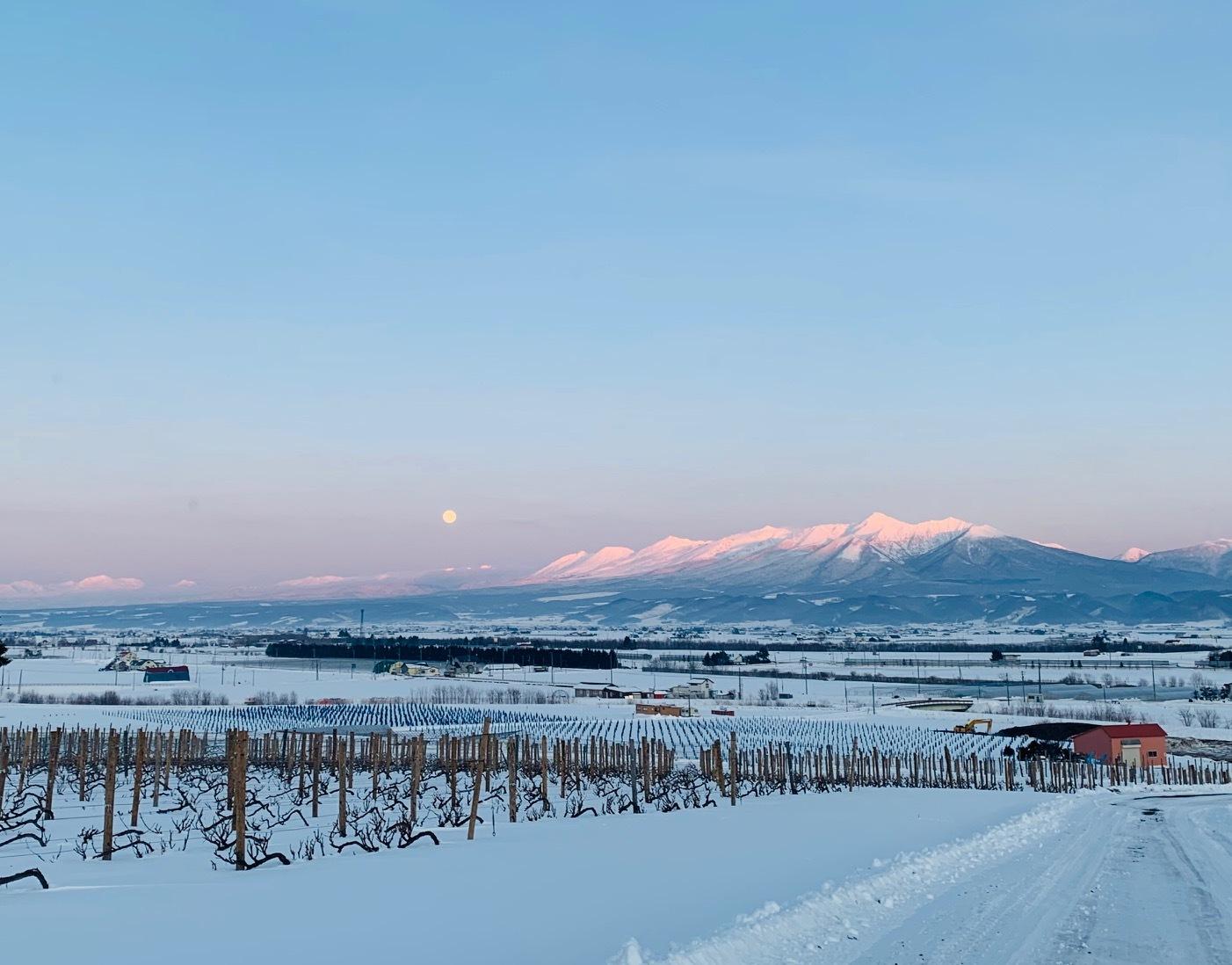 夕闇迫る十勝岳連峰 富良野六花亭からの眺め シバレています