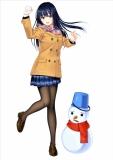 女子高生と雪だるま