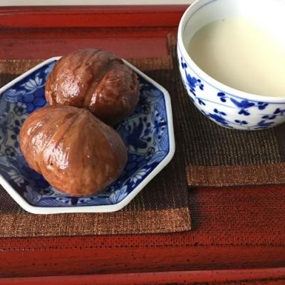 自家製「栗の渋皮煮」とホット豆乳
