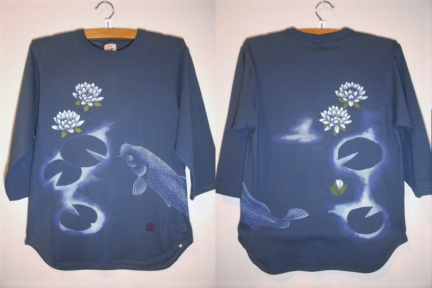手描きTシャツ 鯉と睡蓮