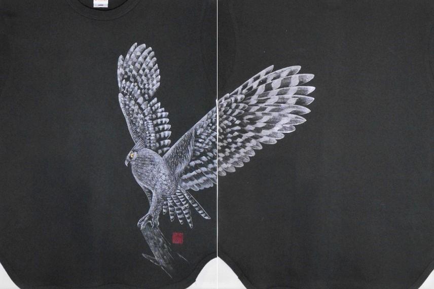 手描きTシャツ フクロウ