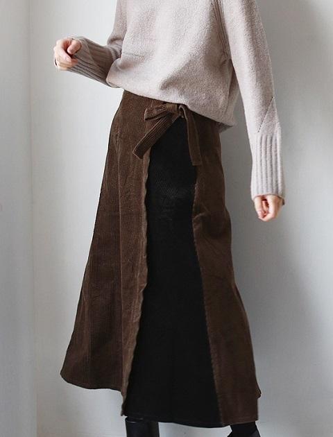 REAL CUBE コーデュロイバイカラースカート