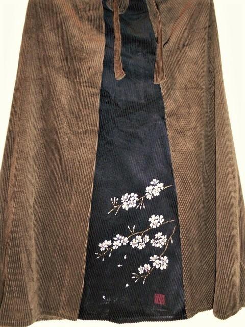 コーデュロイスカート手描き桜