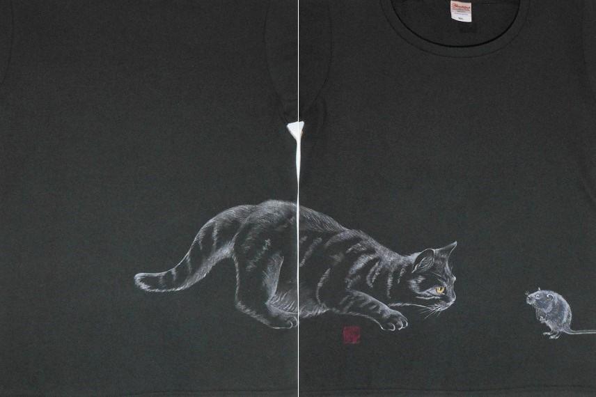 手描きTシャツ ネズミとネコ 20191229