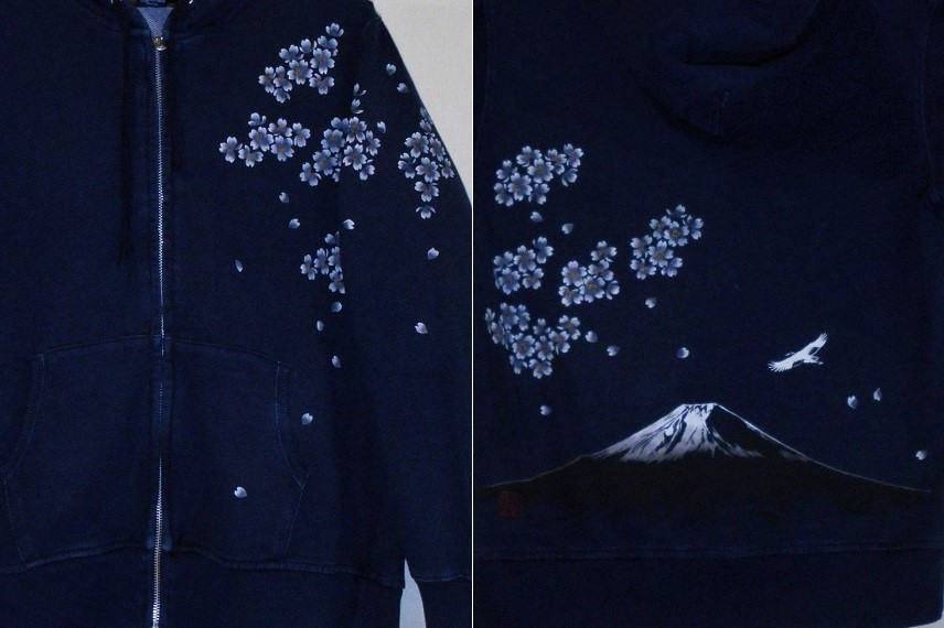 手描きパーカー 富士と桜