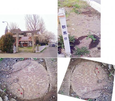 邑楽町中野、長良神社の桜201303(一級基準点)