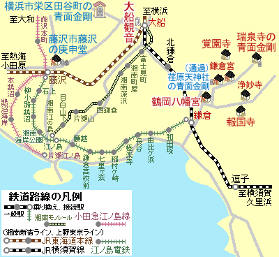 鎌倉市~藤沢市の路線図201711