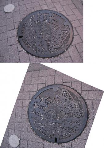 09さいたま新都心にあった嵐山町の蓋(連結)