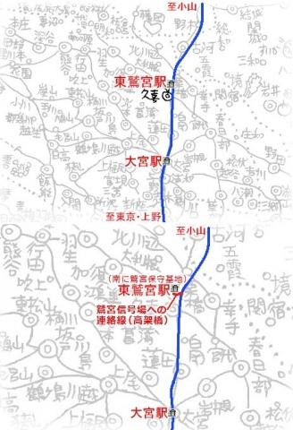 東鷲宮駅となりに高架橋(地図)1