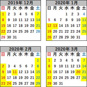 現美新幹線運転日2019年12月~2020年3月