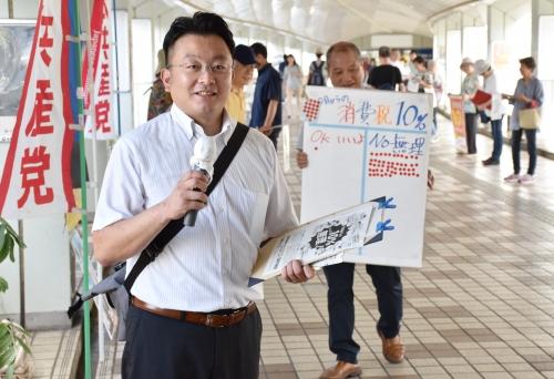 190908消費税10%増税中止の宣伝・清瀬駅北口DSC_0319