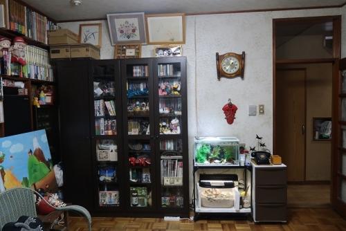 本棚と水槽と刺繍