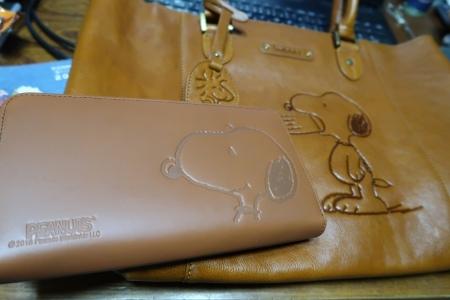 スヌーピー革バッグと財布