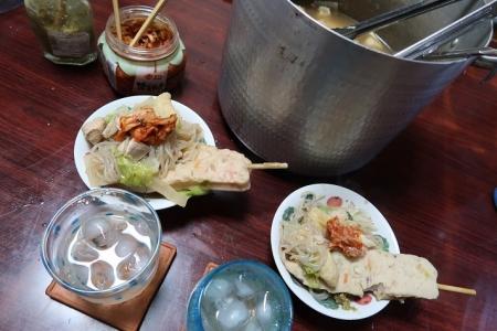 水餃子とさつま串の鍋
