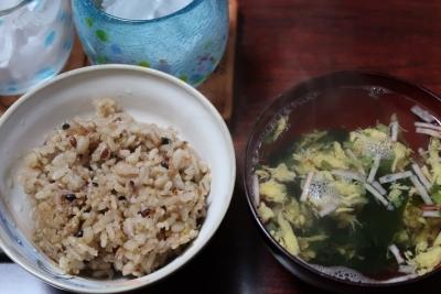 塩海老の炊き込みご飯、かき玉汁