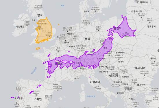 日本と韓国の領土の大きさが体感的にわかる画像「日本はこう見るとめちゃくちゃ大きいな」