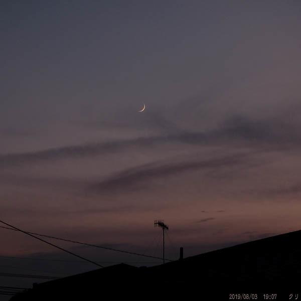 20190803moon-夕焼け三日月