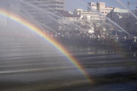 小田原市消防出初式での一斉放水