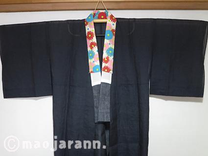 9-26濃紺本麻長襦袢×カラフル菊半襟