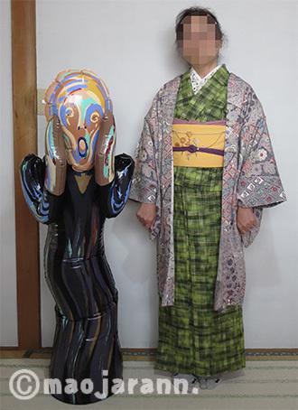11-06緑色紬とお花04