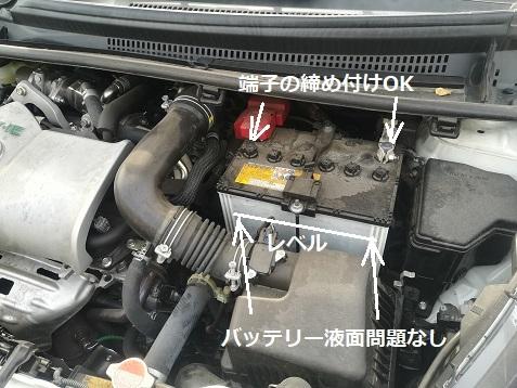 2 バッテリー液面レベル 端子の締め付け状況OK