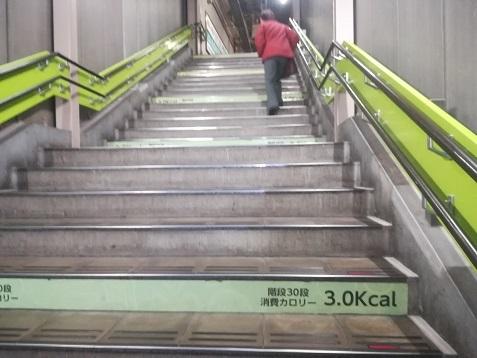 11 東部市場前駅の階段 消費カロリー表示