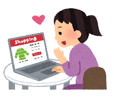 ネットショッピングをする人のイラスト
