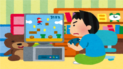 学校よりも楽しいから家でゲームに熱中している男の子