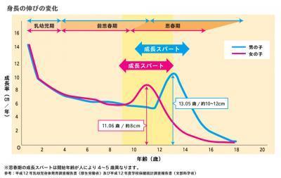 身長の伸び方のグラフ