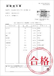 AFCの葉酸サプリmiteteの試験合格証
