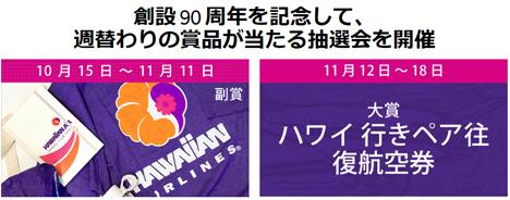 ハワイアン航空は、創設90周年で、ハワイ行きペア往復航空券などが当たるSNS大抽選会を開催!