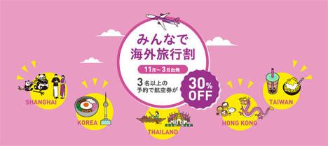 ピーチは、 3名以上の予約で30%OFFになるキャンペーンを開催、羽田~台北線が5,090円~!