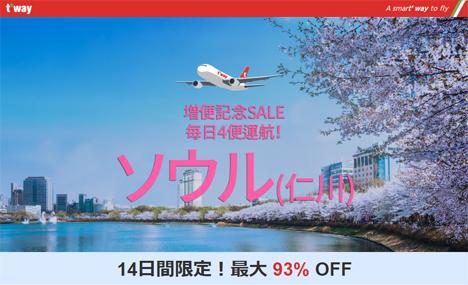 ティーウェイ航空は、成田~ソウル線増便記念セールを開催、最大93OFF 片道1,000円~!