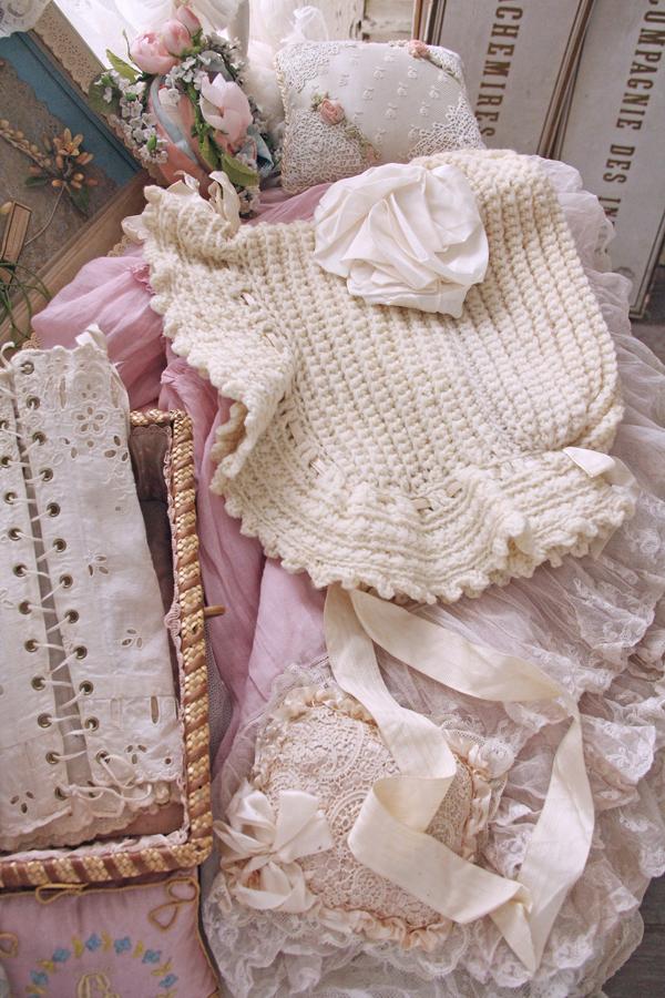 冬のパリジェンヌの為のアンティーク毛糸ボネ
