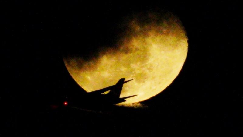 旅客機と月