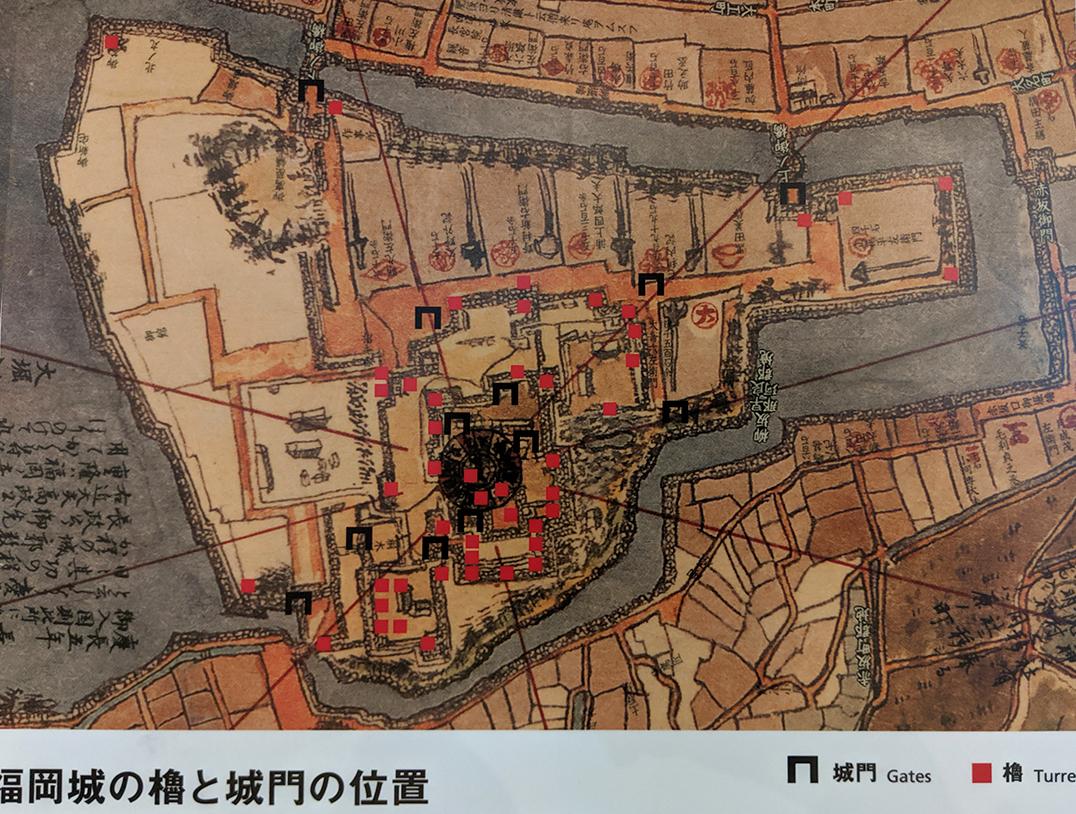3福岡城むかし探訪館櫓と城門位置