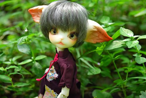 DOLLZONE・Miss Kittyのジーナ。夏らしいチャイナ服に着替えて、夏の野にたたずんでいます。