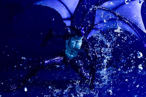 ツバキアキラが撮った、韮沢靖さんデザインのヴァリアブルアクションヒーローズ デビルマン Ver.Nirasawa2016。水を拳で砕くデビルマン。