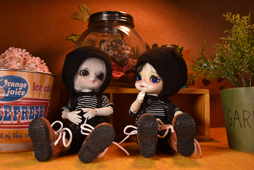 WITHDOLL、Happy Ending Story - Wolf Rudyのルディと、WITHDOLL、Halloween Limited Edition / Black Cat / Butler Pookyのキオ。アンティークのインク瓶が置かれた部屋で。