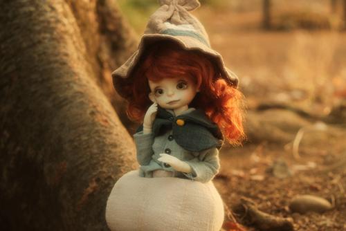 DOLLZONE・Pumpkinのクルル。落ち葉の公園へ、冬のお散歩に行きました。
