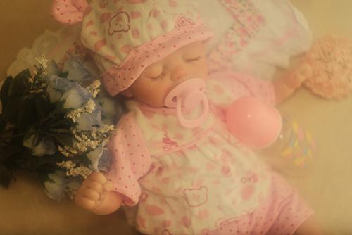 リボーンドールの遊芽(ゆめ)。お花で飾って、写真を撮りました。