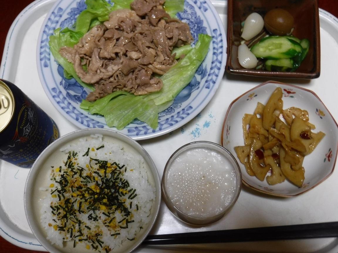 夕食 焼肉とレンコンんキンピラ.jpg